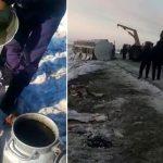 После аварии фуры в Казахстане мужчины вёдрами черпали спирт