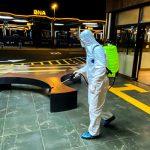 В центрах транспортного обмена проводятся дезинфекционные работы