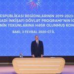 Президент Ильхам Алиев принимает участие в конференции, посвященной итогам первого года реализации Госпрограммы социально-экономического развития регионов в 2019-2023 годах