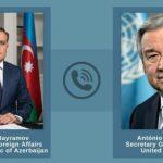 Состоялся телефонный разговор между Джейхуном Байрамовым и генсеком ООН Антониу Гутерришем