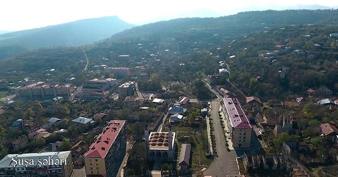 МО Азербайджана представило аэровидеосъемку из города Шуша